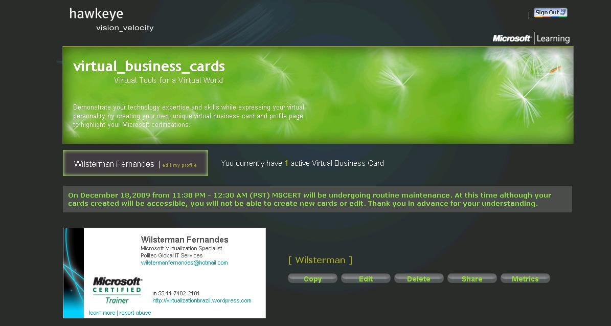 Magnificent Microsoft Virtual Business Card Pattern - Business Card ...